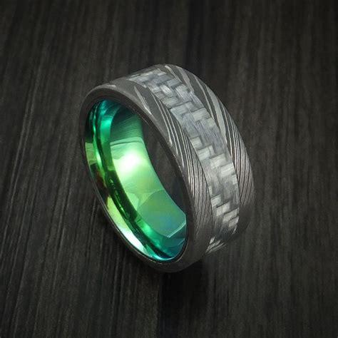 damascus steel  carbon fiber ring custom  band