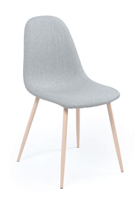 chaise avec pied en bois chaise pied métal bois assise tissu gris loken