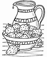 Thanksgiving Dinner Coloring Sheets Bowel Strawberries Cream sketch template