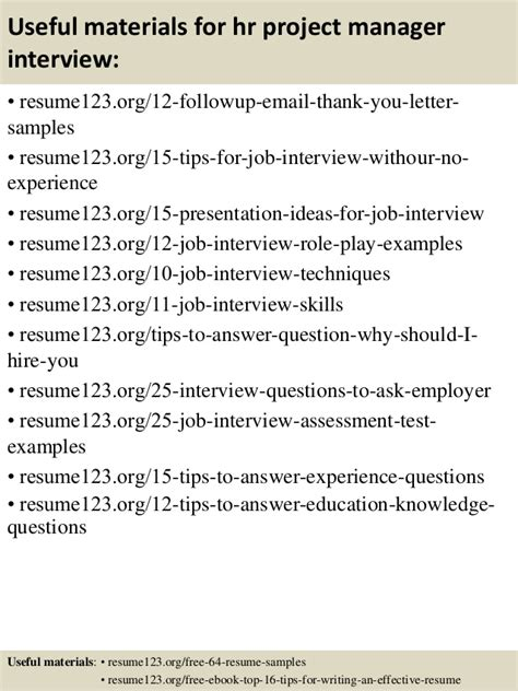 Hr Manager Resume Headline by Top 8 Hr Project Manager Resume Sles
