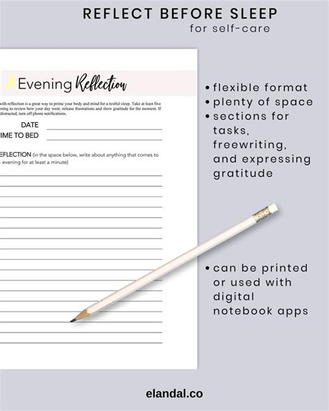 evening reflection printable  care daily routine