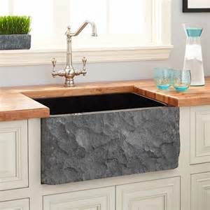 24 quot polished granite farmhouse sink with chiseled apron