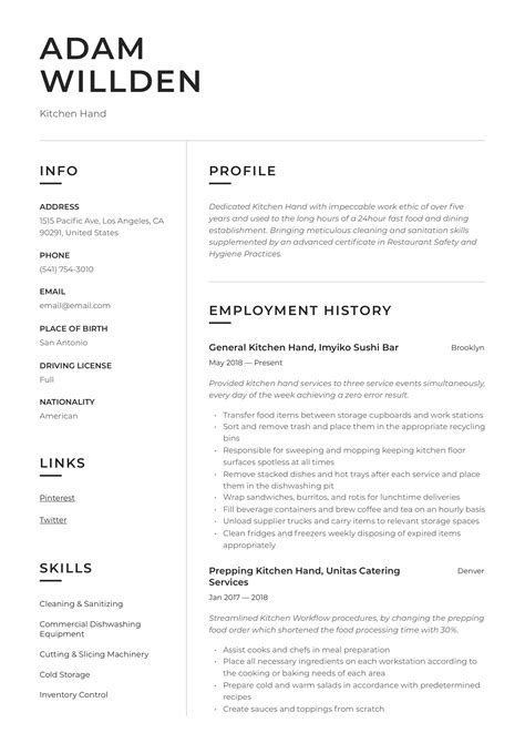 kitchen hand resume writing guide   templates