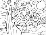 Coloring Starry Pages Gogh Van Night Vincent Artist Famous Printable Paintings Picasso Sheet Doodle Colouring Easy Projects Drawing Alley Classroomdoodles sketch template