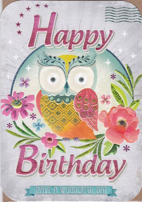 Happy Birthday Owl Images Owl Flowers Birthday Card Karenza Paperie