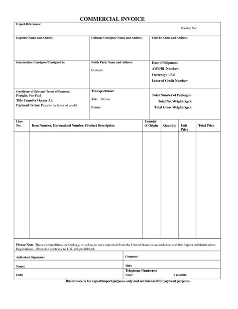 Commercial Export Invoice Sample Business Form. #