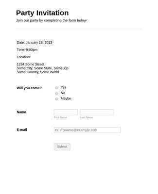 Party Invitation Form Template JotForm