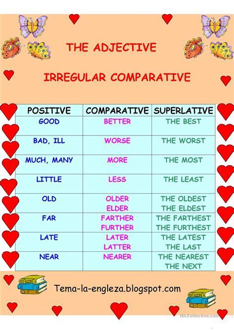 irregular adjectives worksheet free esl printable