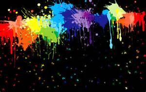 Neon Paint Splatter Black Background