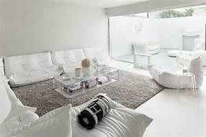 le salon blanc idees de deco minimaliste en blanc With tapis shaggy avec canapé en palette europe