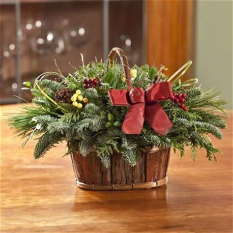 costco teufel fresh holiday bark basket centerpiece fresh evergreen garland pinterest