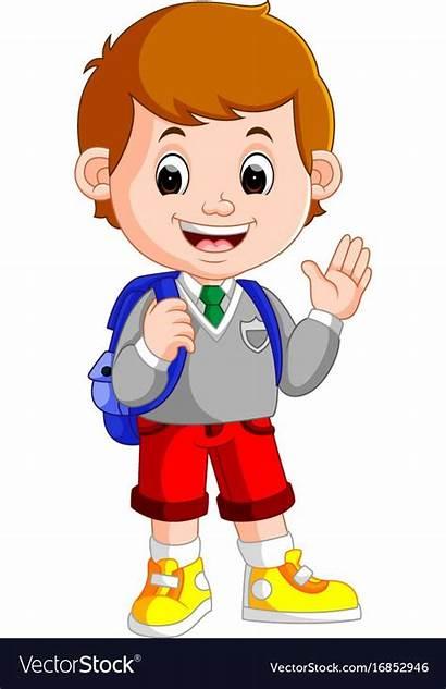 Boy Cartoon Student Characters Vector Clipart Way