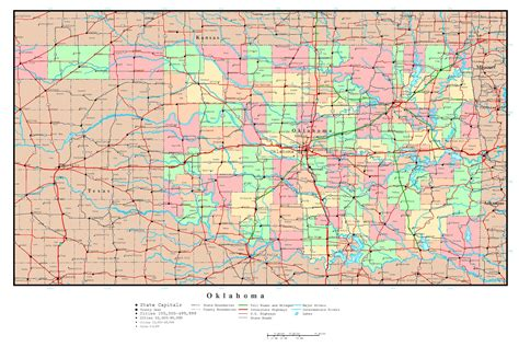 large detailed administrative map  oklahoma state