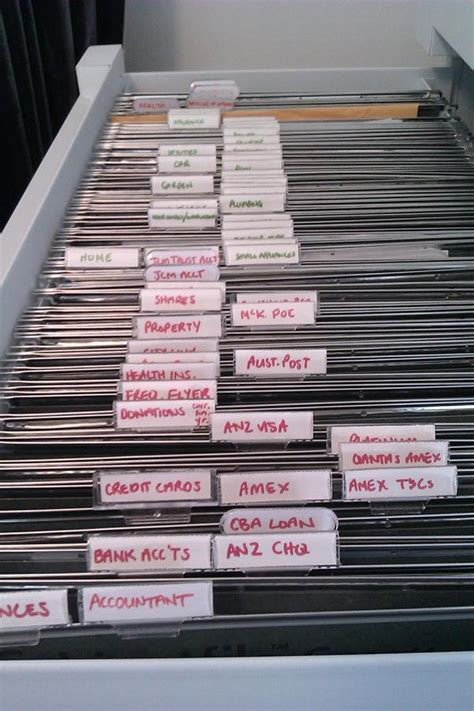 easy filing system   typed labels organizing