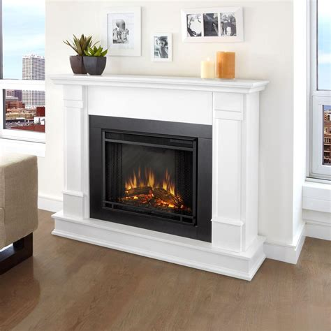 Real Flame Silverton 48 In Electric Fireplace In White