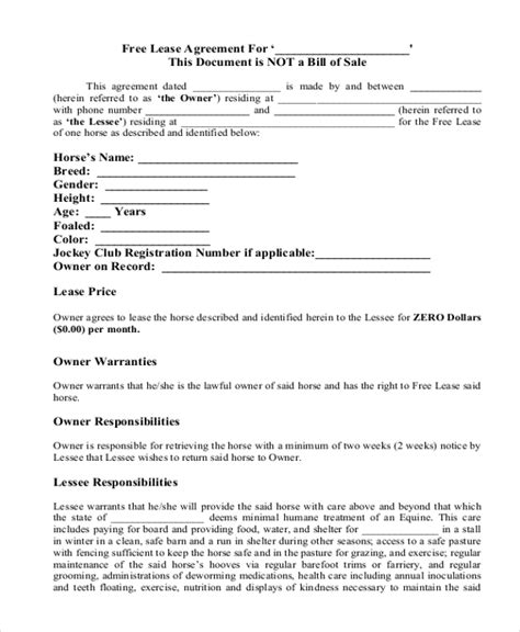 simple lease agreement forms   ms word