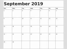 September 2019 Calendar Word monthly printable calendar