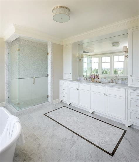 Marble Floors Bathroom by Master Bath With White Subway Tiles With Marble Pencil