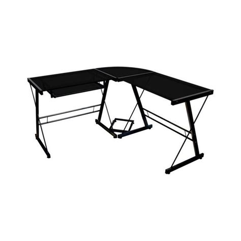 glass top l shaped desk corner l shaped glass top computer desk in black d51b29