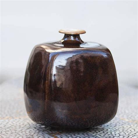 gerald weigel art pottery brown glazed ceramic vase set