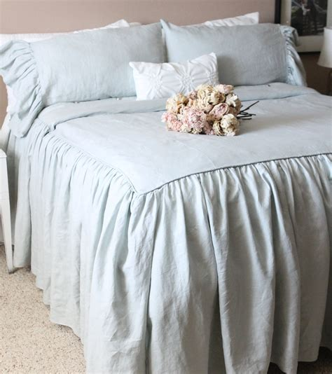 shabby chic toile bedding ruffled linen shabby chic duvet cover the by tickingandtoile