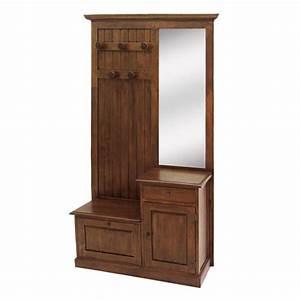 Vestiaire tradition hevea meuble d39entree for Porte d entrée alu avec meuble en bois de salle de bain