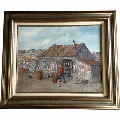 Fishing Oil Painting Lobster Shack Louis Buoys