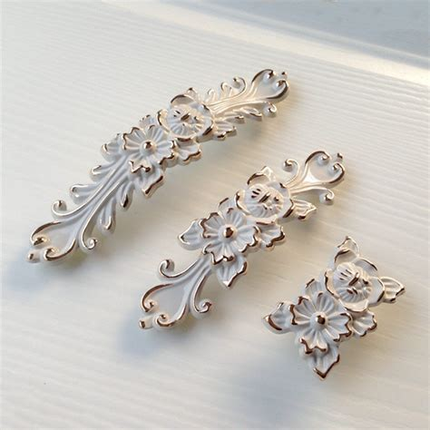 french country cabinet hardware shabby chic dresser drawer pulls handles off white gold