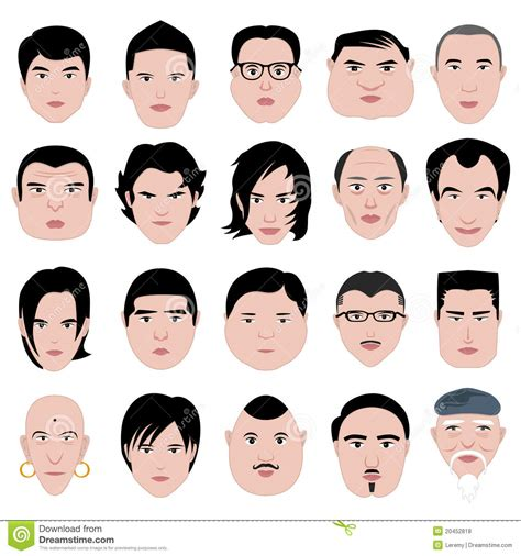 man face shape hairstyle  fat thin  stock vector