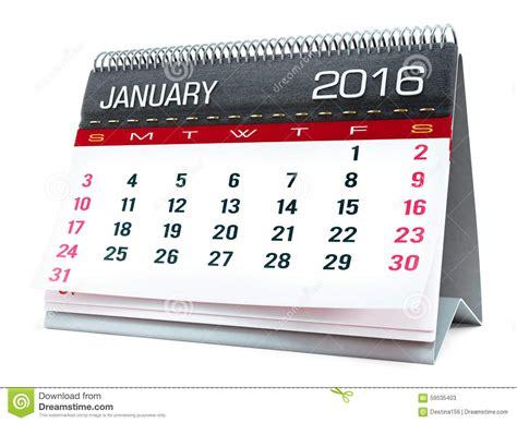 calendrier de bureau janvier 2016 calendrier de bureau illustration stock