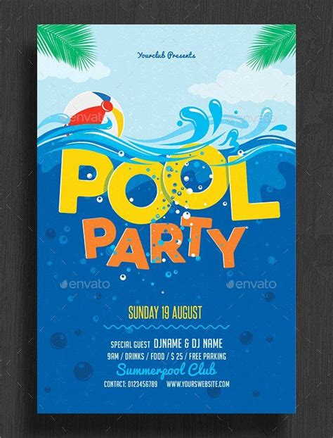 birthday pool party invitation template