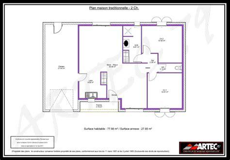Plan Maison 2 Chambres - plan maison en l 2 chambres