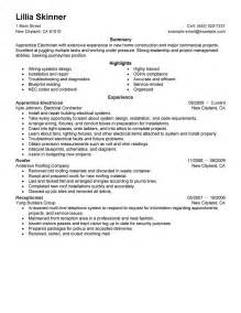 home builder resume exles best apprentice electrician resume exle livecareer