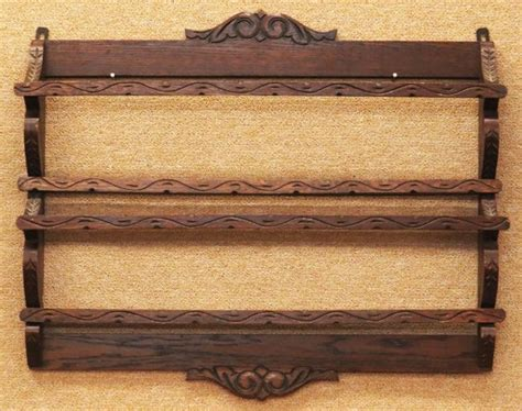 antique wooden wall hanging plate rack unsigned good lot