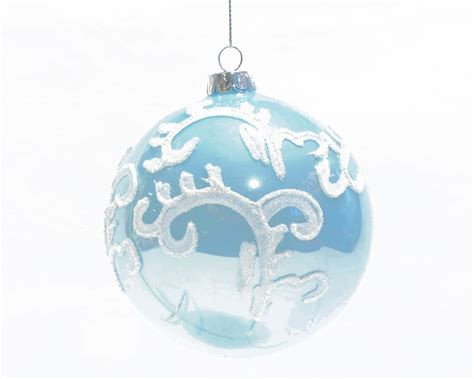 christmas ball light blue glitter ornaments renio