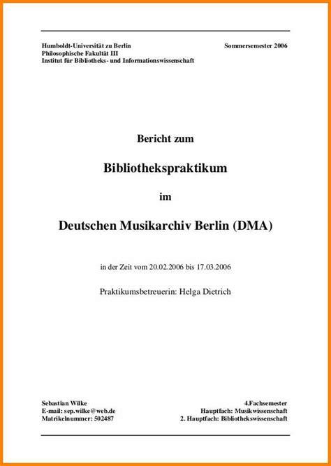 inhaltsverzeichnis praktikumsbericht