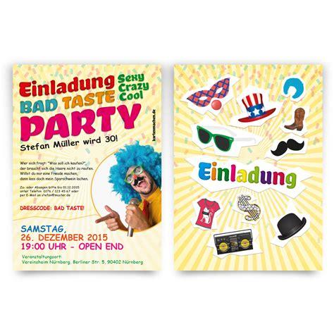 einladungen zum geburtstag bad taste kostuem party fasching