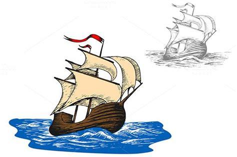 Ancient sail ship in ocean waves   Ocean waves, Mural ...