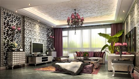 Fancy Living Room Doors by Fancy Living Room With Luxurious Wallpapers 3d Model Max