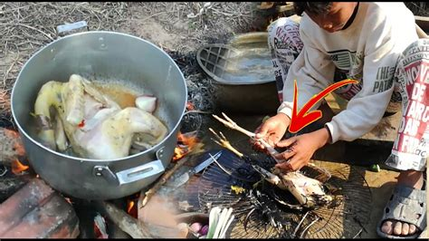 how to cook chicken in water amazing two children roast chicken with coconut water how to cook chicken in cambodia youtube