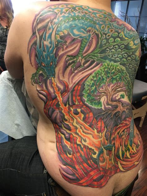 color  nature rising dragon     tattoo