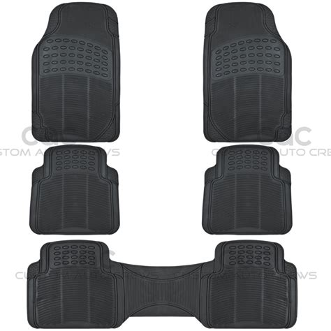 floor mats for suv 5pc set all weather heavy duty rubber suv car black floor mats front rear liner ebay