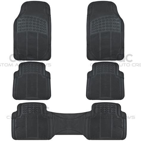 floor mats suv 5pc set all weather heavy duty rubber suv car black floor mats front rear liner ebay