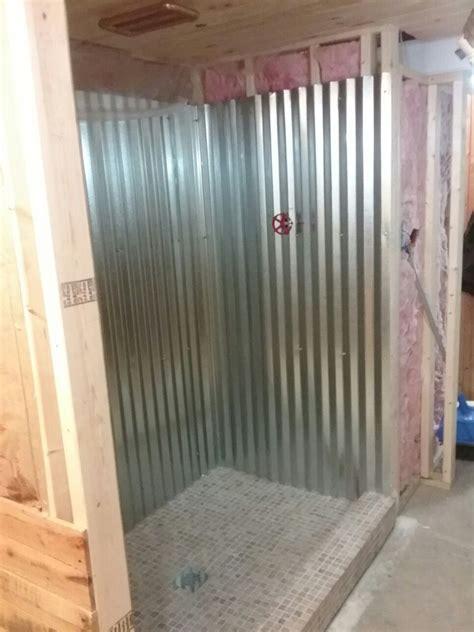galvanized metal shower surround basement bathroom