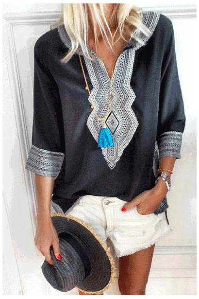 Neck Half Blouses Casual Loose Blouse Shirts