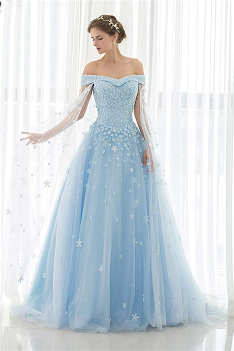 ice blue tulle off shoulder prom dress ball gowns wedding
