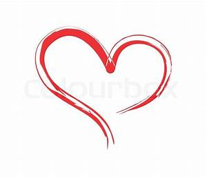 Brushed heart Red shape heart Vector Colourbox