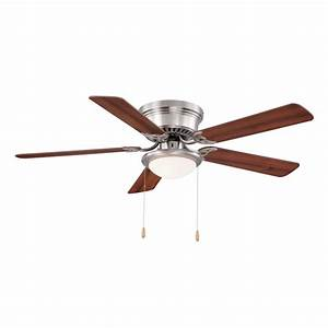 Hugger in led indoor brushed nickel ceiling fan with
