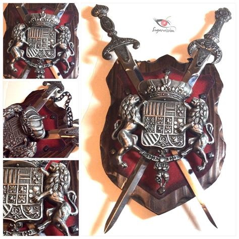 Gardenstyle outdoor decor wall plaques and wall decor. Medieval Crest Heraldic Pewter Shield 2 Swords Lion Castle Wall Plaque RARE | eBay | Castle wall ...
