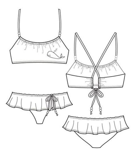 flat fashion sketch   swimwear  flats